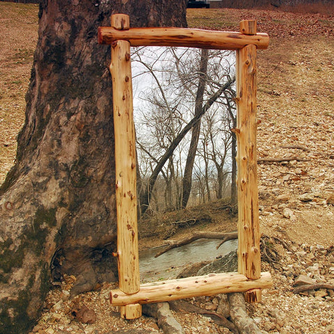 Rustic Cedar Log Mirror