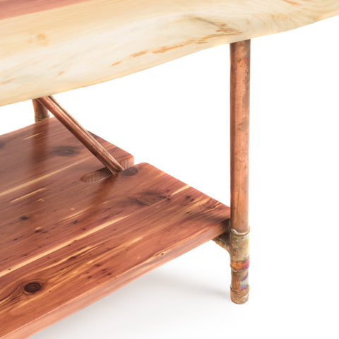 "Cedar Live Edge Rustic Coffee Table - Cedar Wood - Metal Copper Pipe Legs - 48"" x 23"""