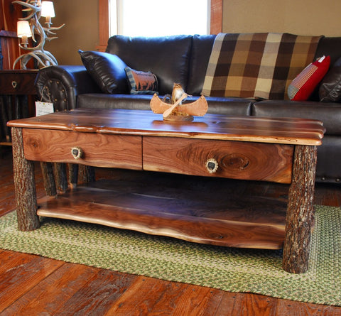 Walnut and Hickory Sapling Coffee Table