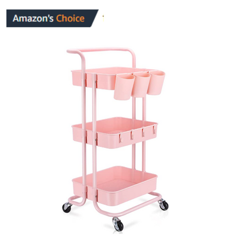 LASH CART: 3-TIER ROLLING MOBILE UTILITY CART WITH HANGING CUPS & HOOKS