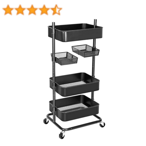 LASH CART ORGANIZER: ANSTAR 3-TIER ROLLING UTILITY CART WITH 2 ROTATABLE TRAYS