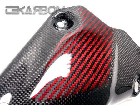 2007 - 2012 Ducati 1198 1098 848 Carbon Fiber Exhaust Cover - Red / Black