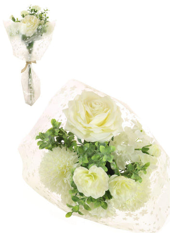 Open Top Pom Pom & Rose Bouquet - Cream