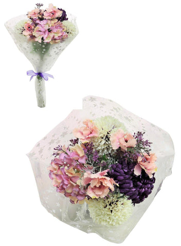 Open Top Frilly Poppy & Pom Bouquet - Purple & Pink