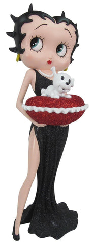 Betty Boop With Red Glitter Pillow Box Black Dress