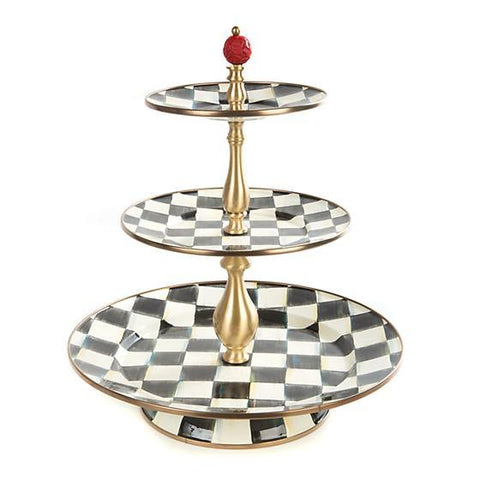Courtly Check Enamel Three Tier Sweet Stand