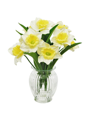 Daffodils In Ribbed Vase - Cream & Yellow