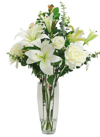 Rose and Lily Arrangement - Ivory