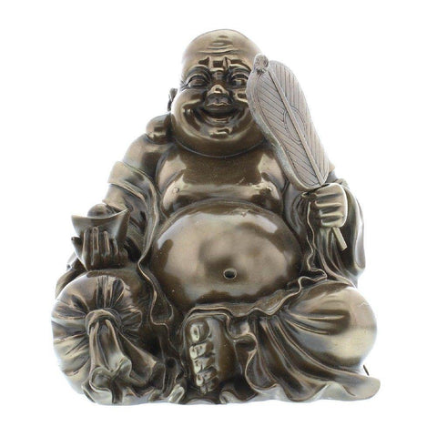 Sitting Buddha Bronze Finish Figurine - Medium Size