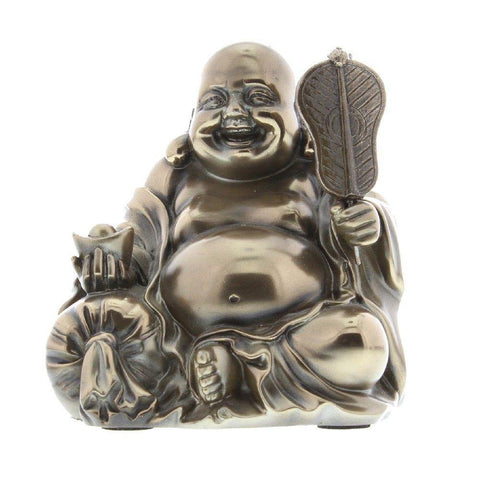 Sitting Buddha Bronze Finish Figurine - Small Size
