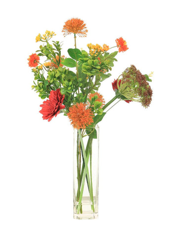 Mixed Gerbera And Fireball - Orange & Red