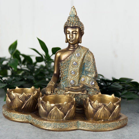 Buddha Triple Tea Light - Bronze Effect