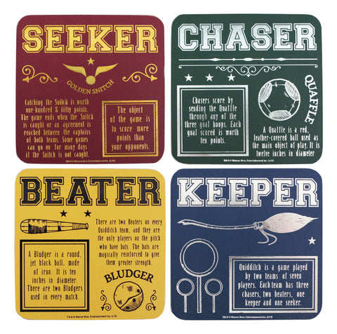 Coaster Set Of 4 - Harry Potter Quidditch