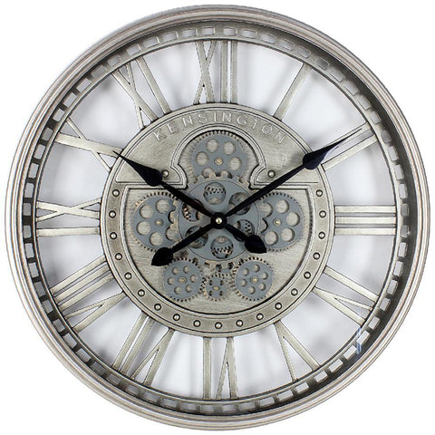 Silver Moving Cog Clock Roman Numerals - 54cm