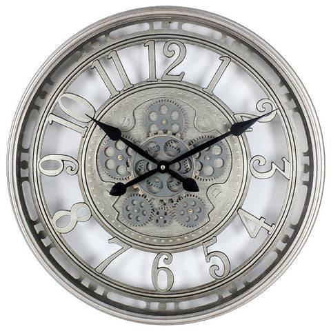 Silver Moving Cog Clock - 54cm