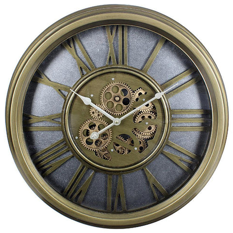 Gold Moving Cog Clock Roman Numerals - 54cm