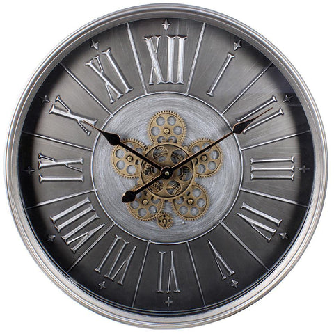 Silver Moving Cog Clock Roman Numerals - 60cm