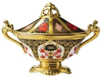 Old Imari Solid Gold Band  - Covered Urn