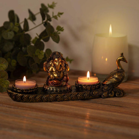 Ganesh Bronze Effect Tea Light Holder  - Faith & Hope