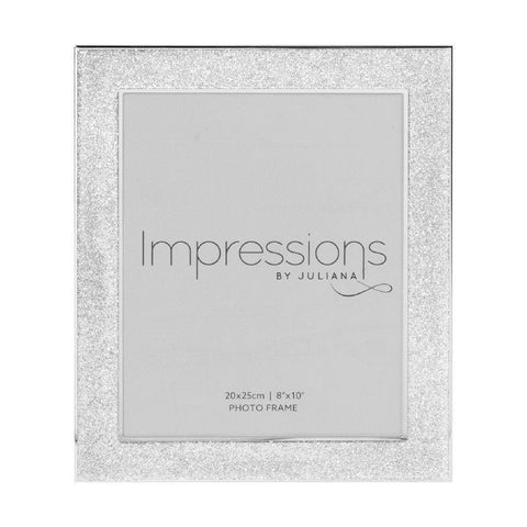 8x10 Silver Plated Glitter Photo Frame