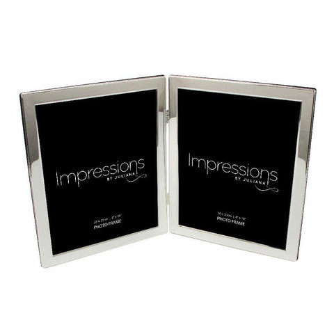 8x10 Silver Plated Double Flat Edge Double Photo Frame