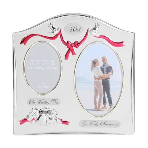 40th Anniversary Double Photo Frame Silver Plated