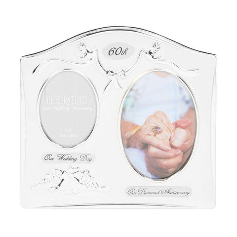 60th Anniversary Silver Plated Double Photo Frame