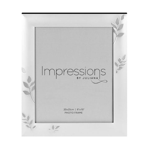 8x10 Silver Plated Leaf Design Photo Frame