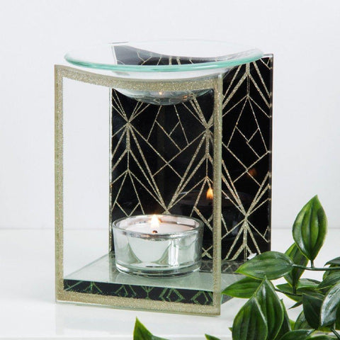 Glass Oil Burner Black & Gold