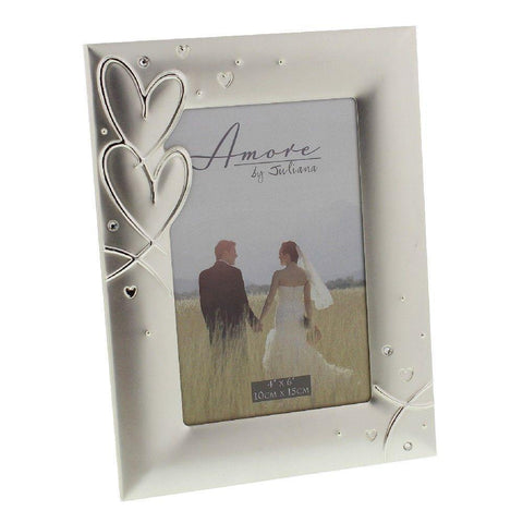 4x6 Hearts & Crystals Silver Plated Photo Frame - Amore