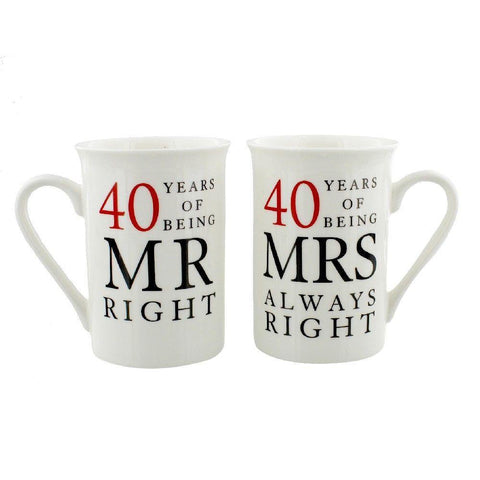 40 Years Mr Right Mrs Always Right - Amore Gift Set