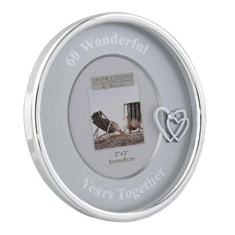 3x3 Round Silver Plated 60th Anniversary Photo Frame