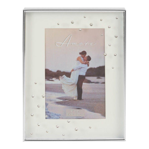 4x6 - Silver Plated Box Photo Frame - Amore