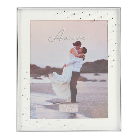 8x10 Silver Plated Box Photo Frame - Amore