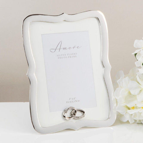 4x6 - Scallop Silver Plated Photo Frame - Amore