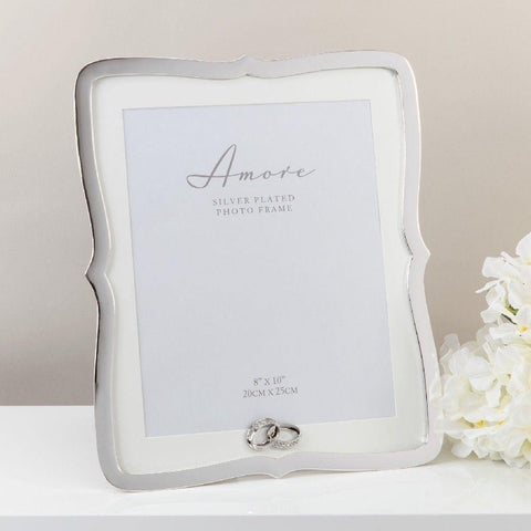 8x10 Silver Plated Scallop Photo Frame - Amore