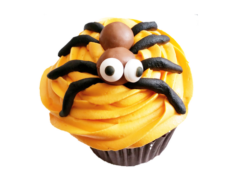 Togri Bakery Spooky Halloween Orange Colour Vanilla Cupcake With Boggly Eyed Spider