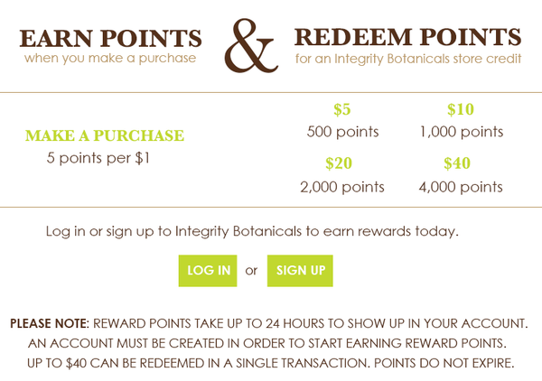 Integrity Botanicals Rewards Program