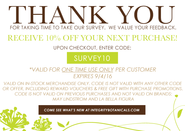 Integrity Botanicals Survey