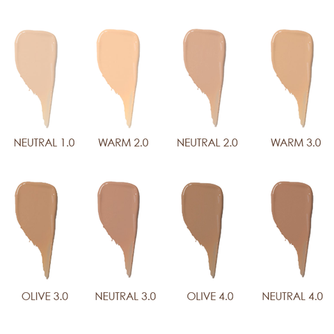 100% pure water foundation swatches