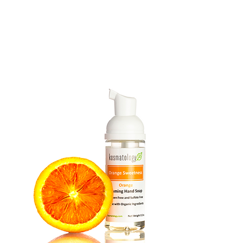 kosmatology orange hand soap travel