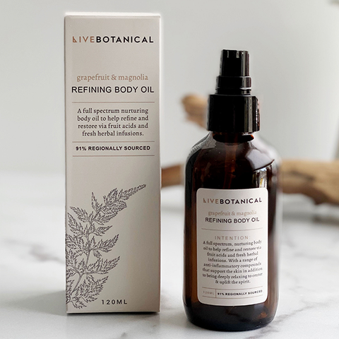 live botanical grapefruit body oil