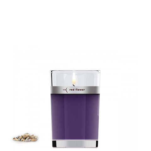 red flower lavender candle