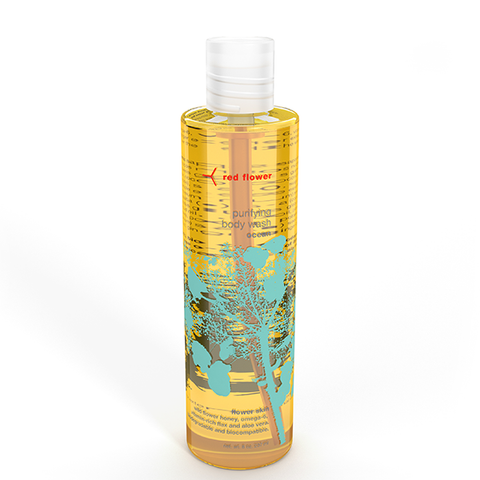 red flower ocean body wash