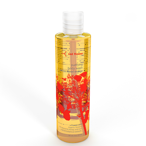 red flower blood orange body wash