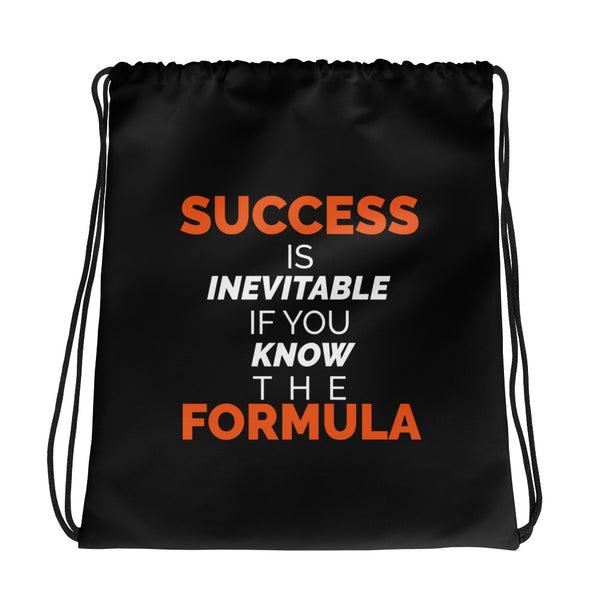 Success is Inevitable If You Know The Formula Drawstring Bag - Black