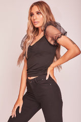 HIGH STREET Black Crop Top with Mesh Puff Sleeves side.
