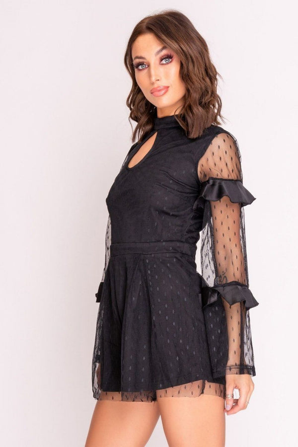 HIGH STREET Black Dobby Mesh Playsuit front.