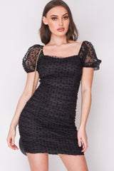 HIGH STREET Black Dobby Mesh Puff Sleeve Mini Dress front.