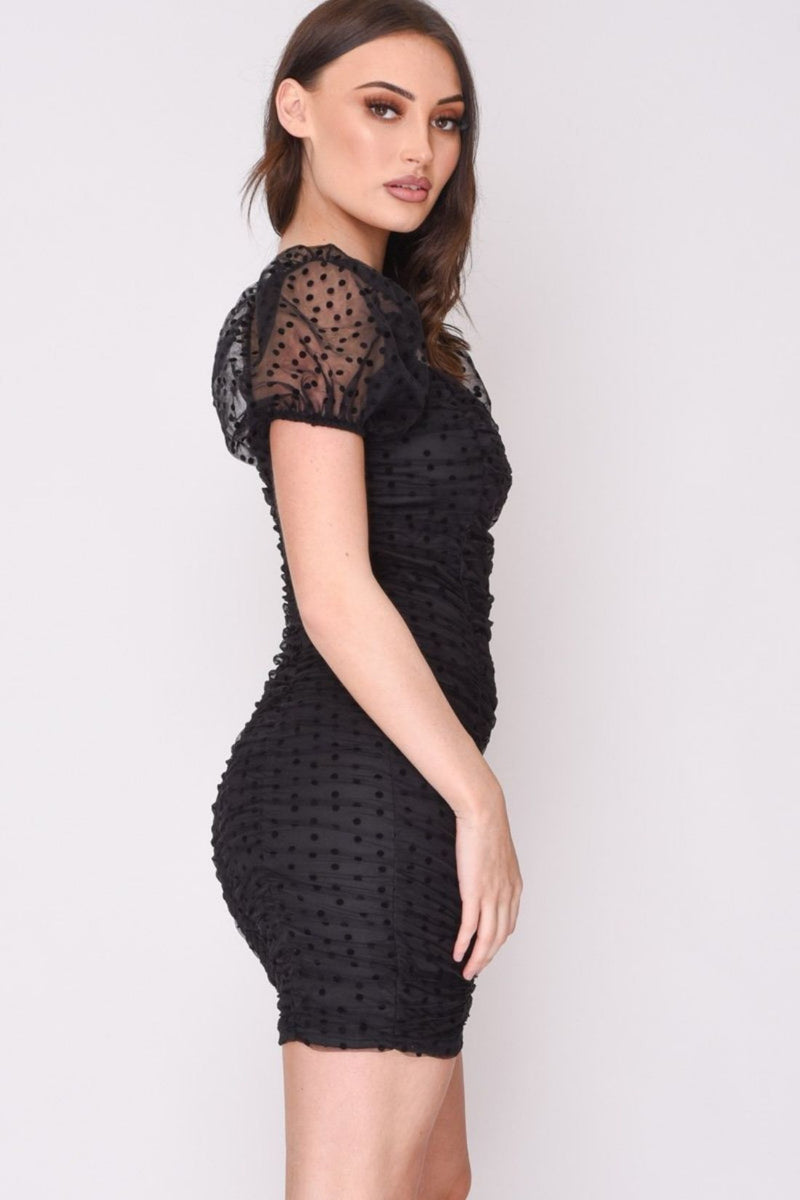 HIGH STREET Black Dobby Mesh Puff Sleeve Mini Dress side.